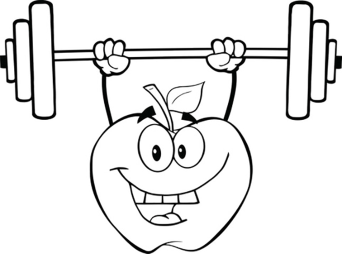 Apple Weightlifting Coloring Page