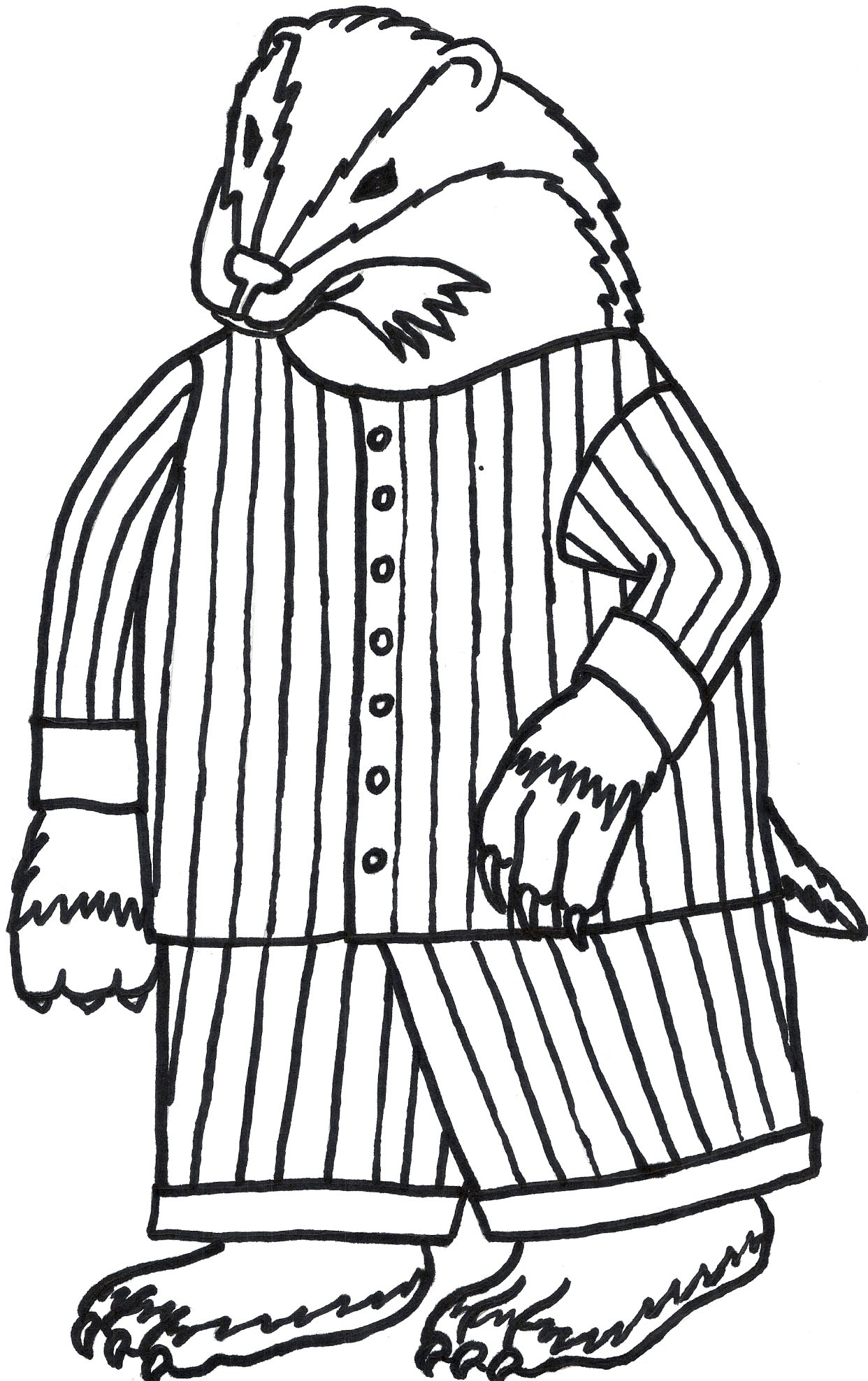 Badger In Pajamas Coloring Page