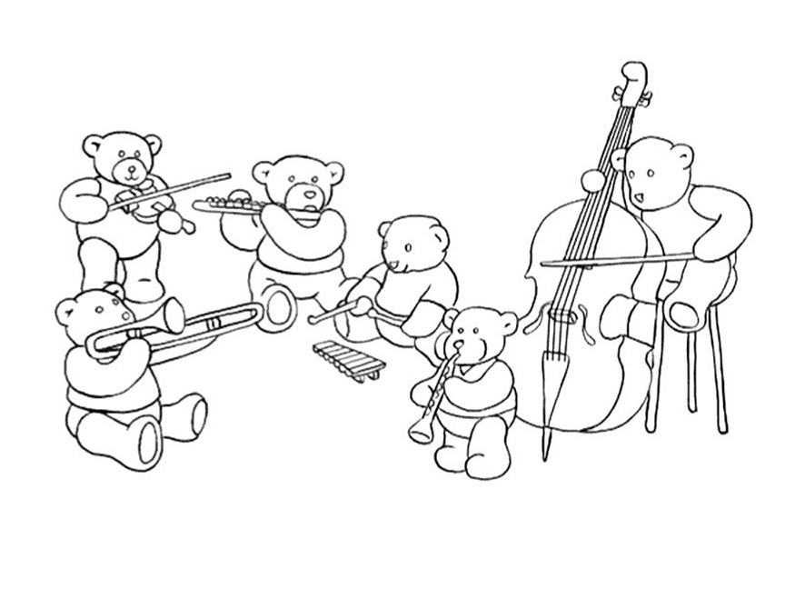 Bear Orchestra Coloring Page