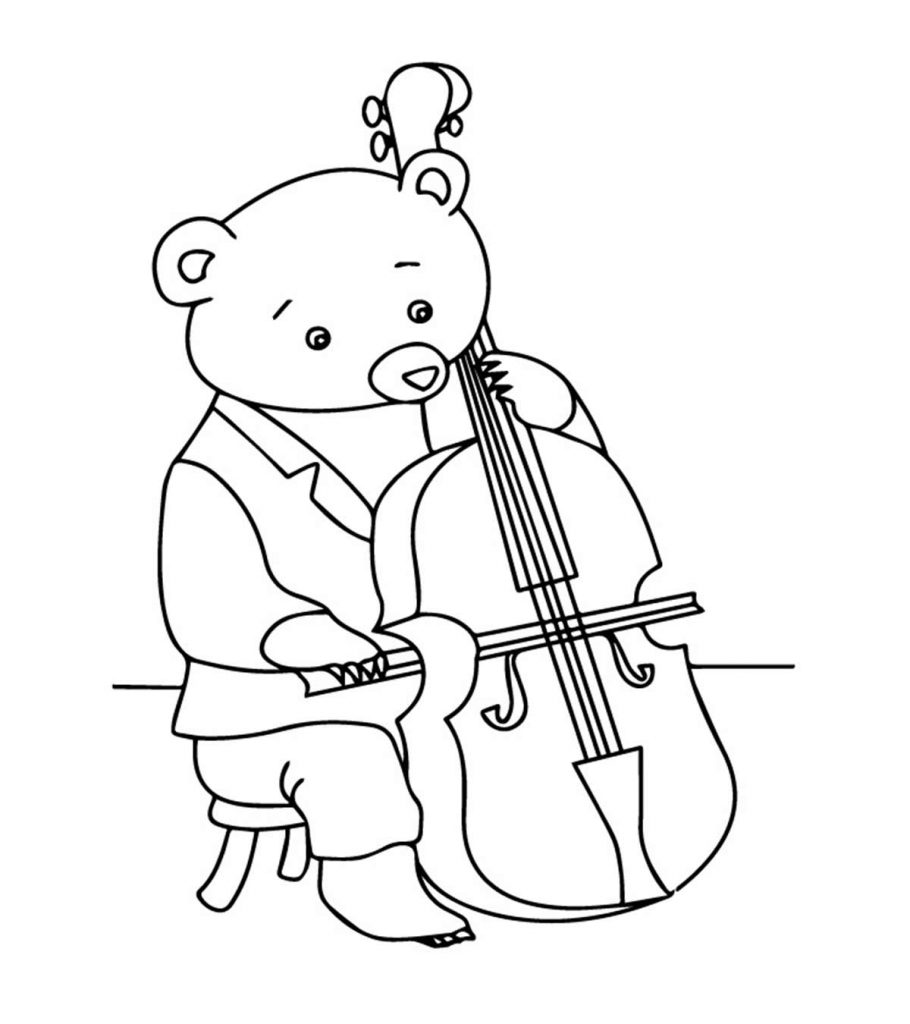Bear Playing The Cello Coloring Page
