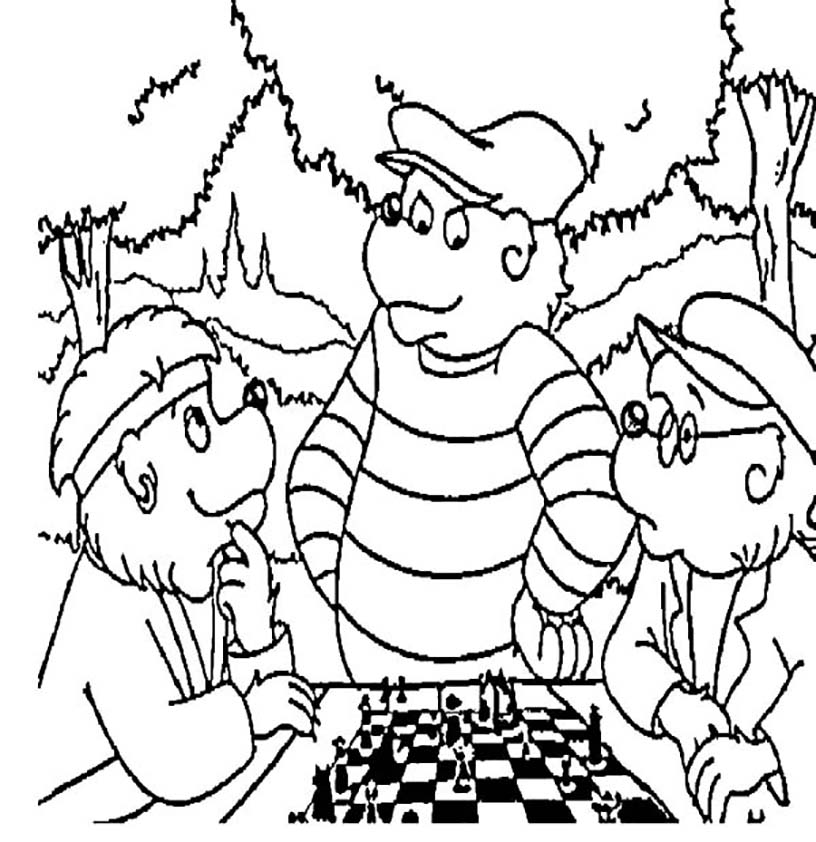 Bears Playing Chess Coloring Page