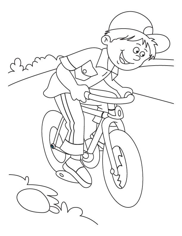 Boy Bicycling Coloring Page