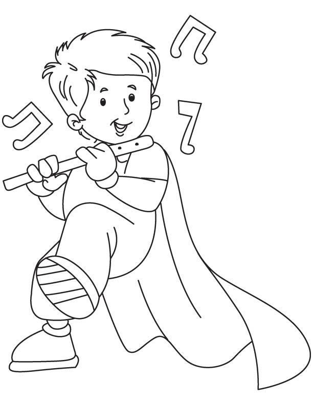 Boy With Flute Coloring Page