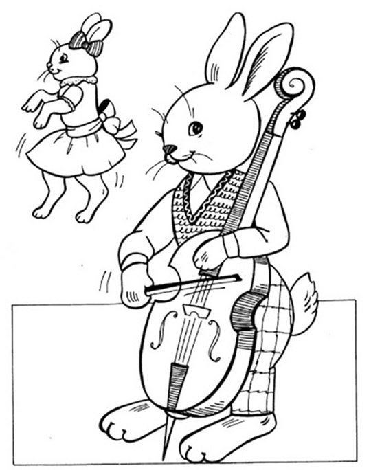 Bunny Playing Cello Coloring Page