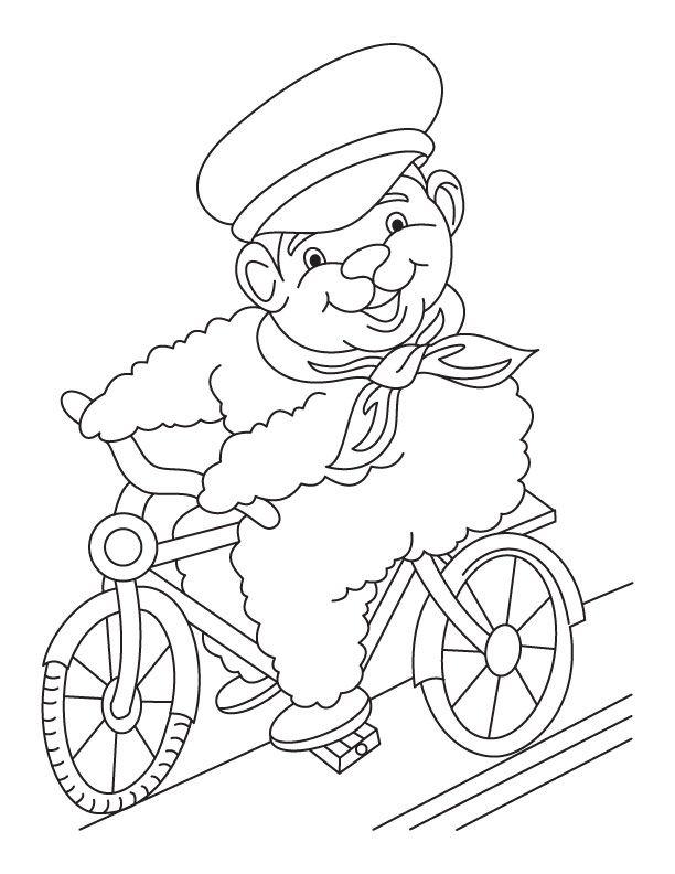 Cartoon Cycling Coloring Page
