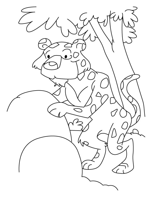 Cartoon Leopard Coloring Page
