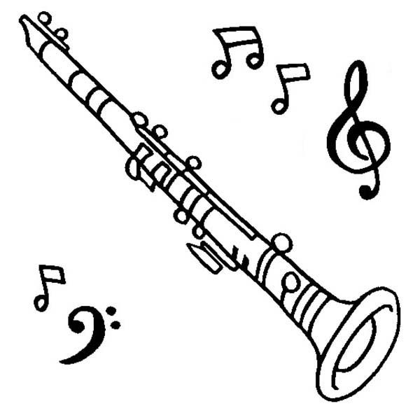 Clarinet And Notes Coloring Pages