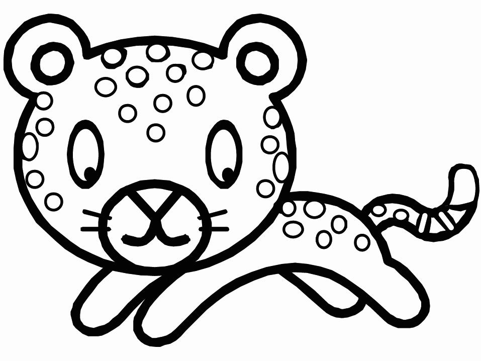 Cute Baby Leopard Cartoon Colorinog Page