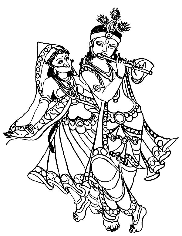 Dancing And Playing Flute Coloring Pages
