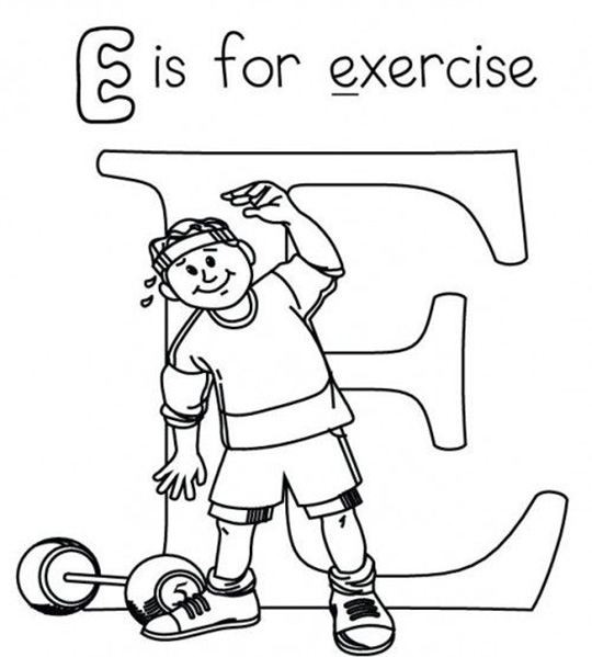 E For Exercise Weights Coloring Page