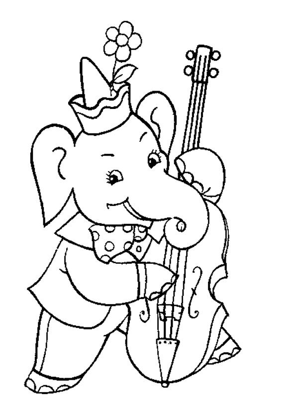 Elephant On Cello Coloring Page