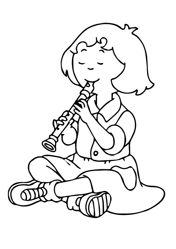 Girl Playing Flute Coloring Page