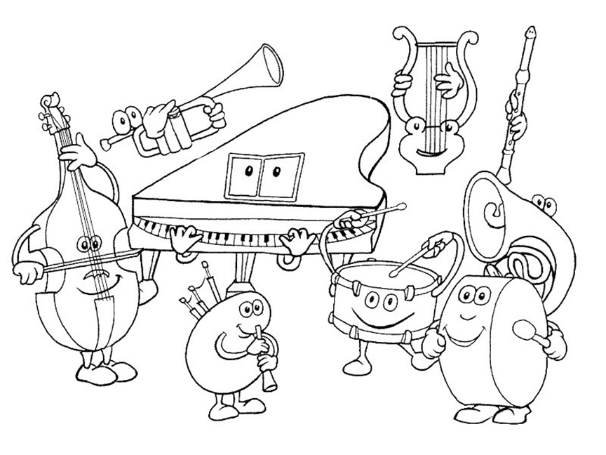 Happy Cartoon Orchestra Coloring Page