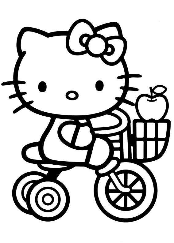 Hello Kitty On Tricycle Coloring Page
