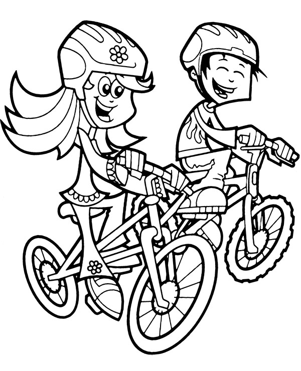 Kids Riding Bicycles Coloring Page