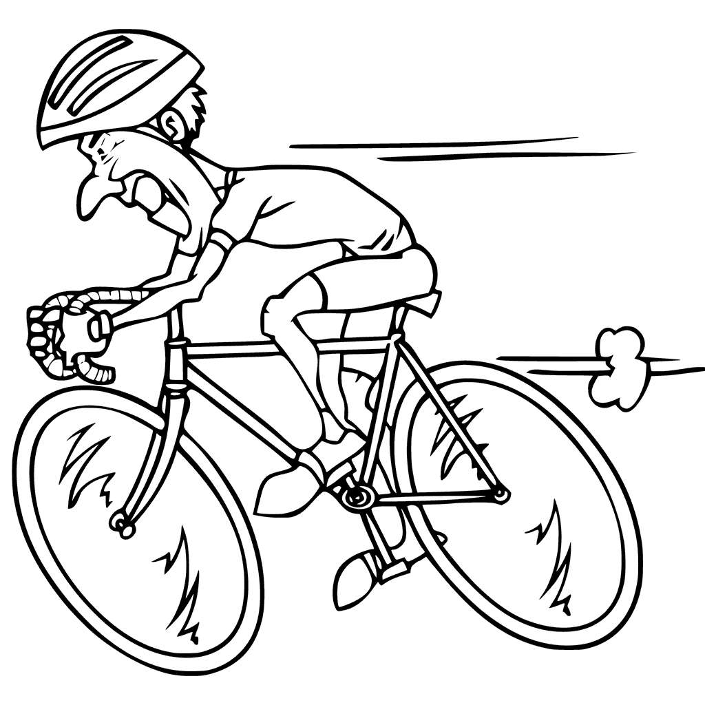 Man Cycling Coloring Page