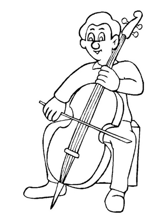 Man Playing Cello Coloring