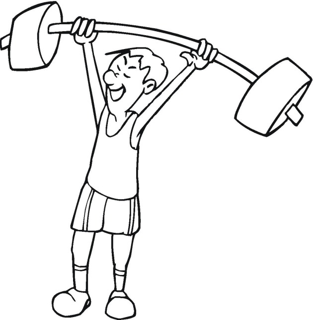 Man With Barbell Weightlifting Coloring Page