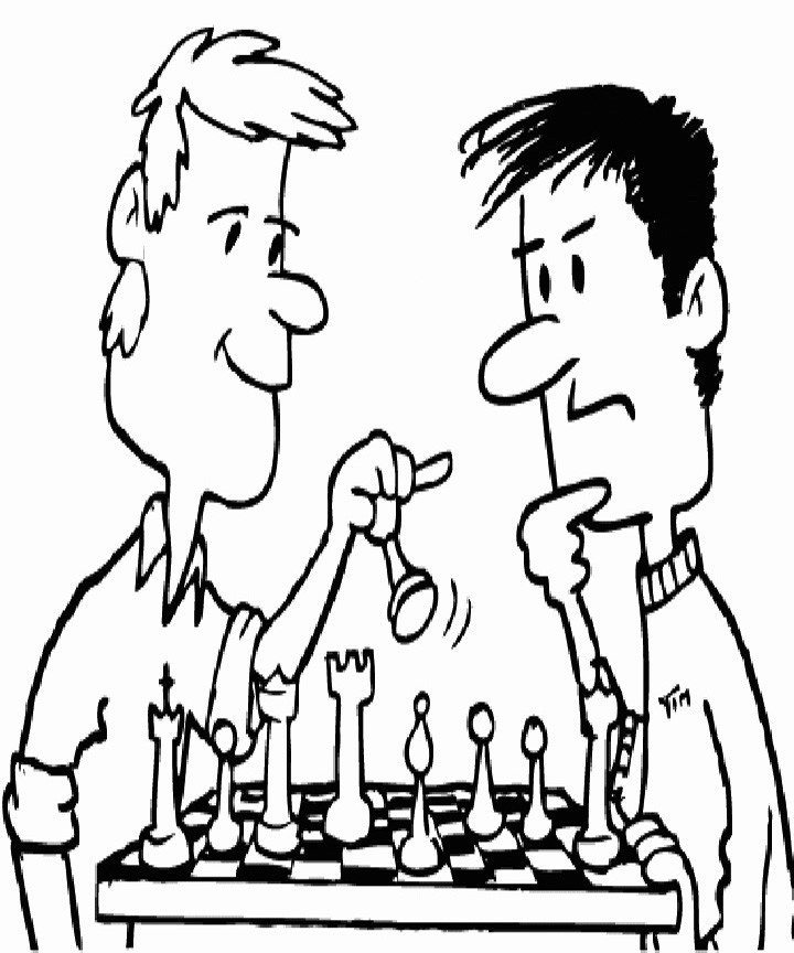 Men Playing Chess Coloring Page