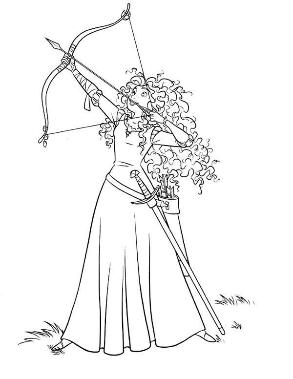 Merida Shooting Arrow Coloring Page