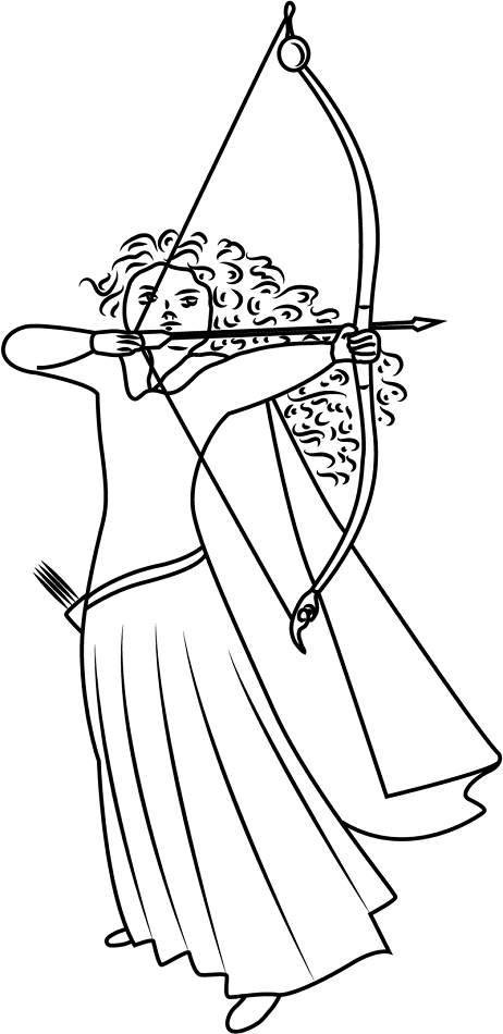 Merida Shooting Arrow Colroing Page