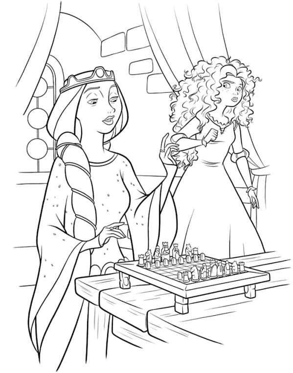 Meridas Mother Playing Chess Coloring Page