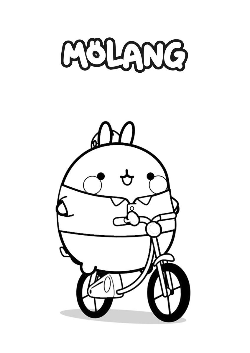 Molang Cycling Coloring Page