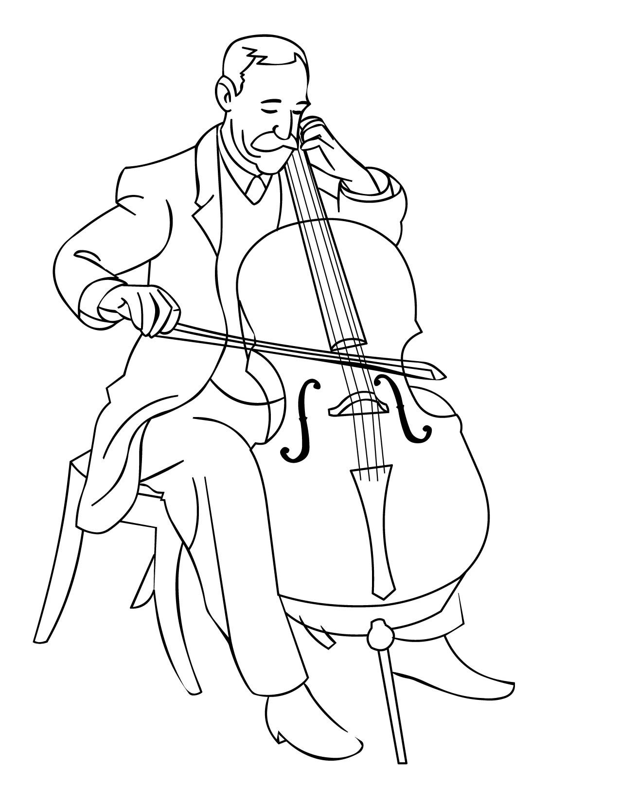 Orchestra Cello Coloring Page