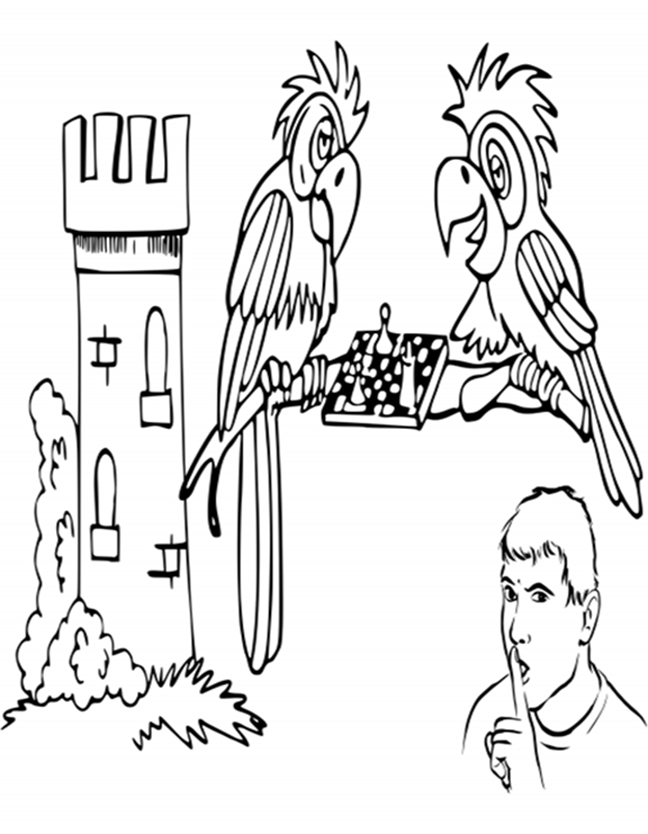 Parrots Playing Chess Coloring Page