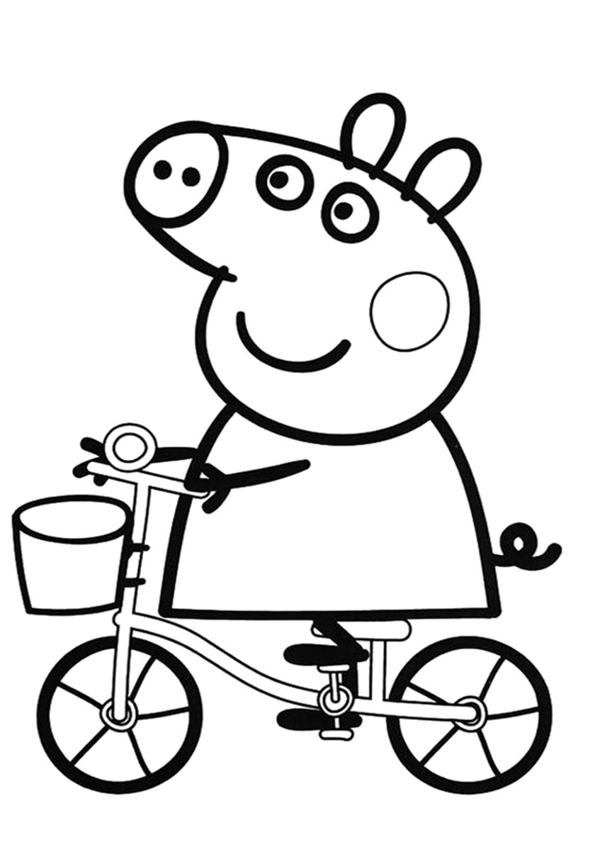 Peppa Pig On A Bicycle Coloring Page