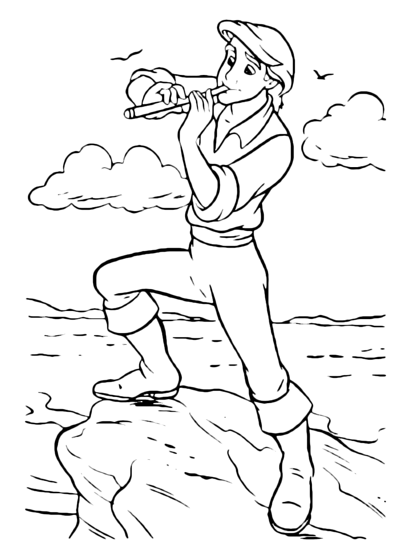 Prince Eric Playing Flute Coloring Page