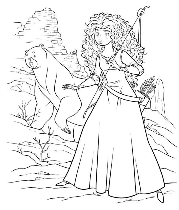 Princess Merida Bow And Arrow Coloring Page