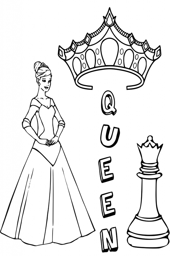 Queen Chess Piece Coloring Page