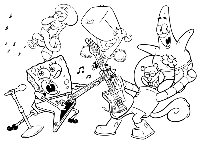 Spongebob Band Coloring Page