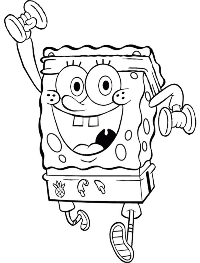 Spongebob With Weights Coloring Page