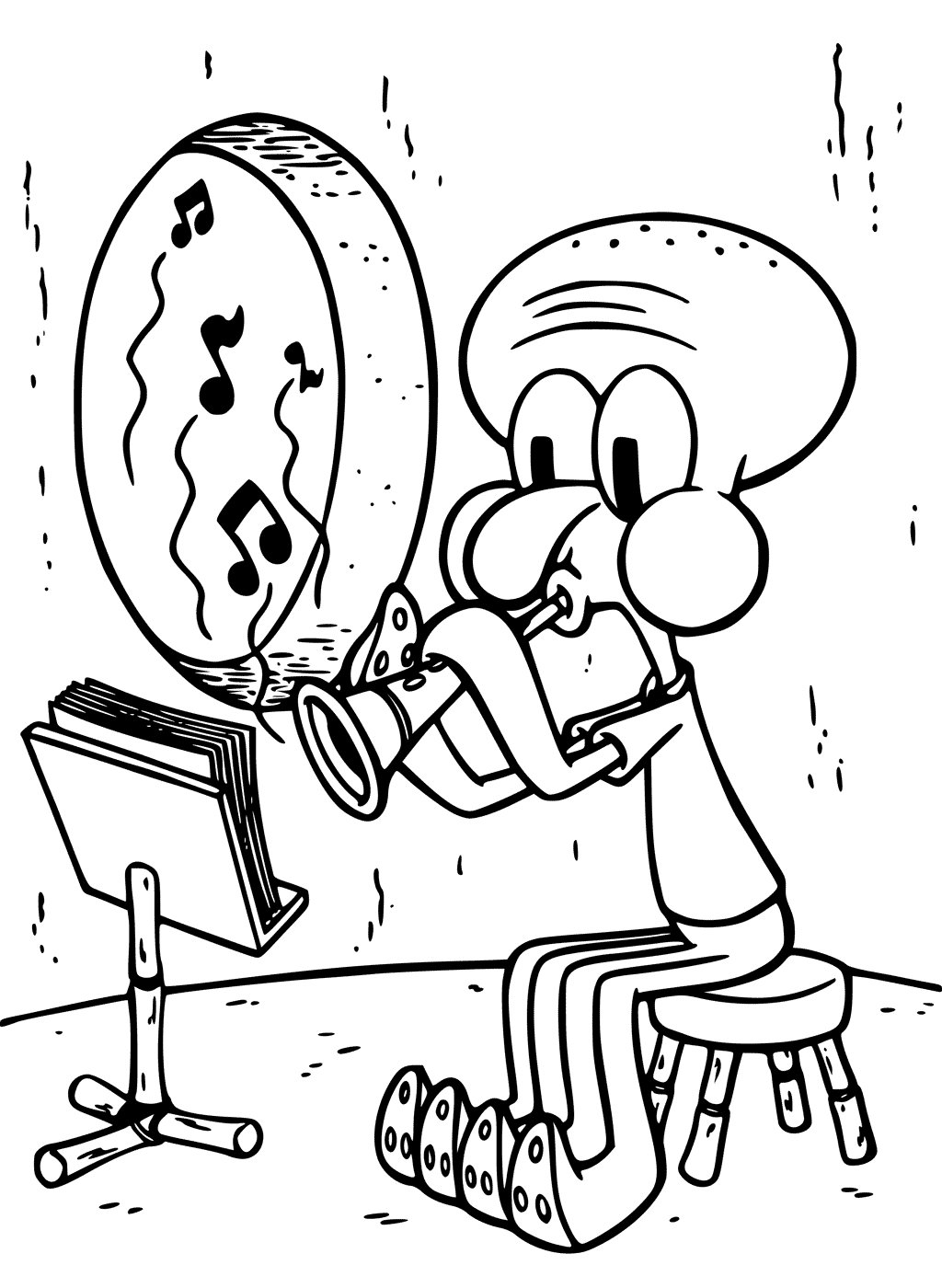 Squidward Practicing Clarinet Coloring Page