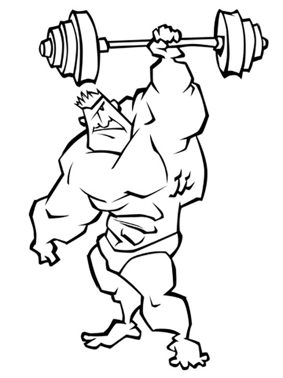 Weightlifting Printable Coloring Page