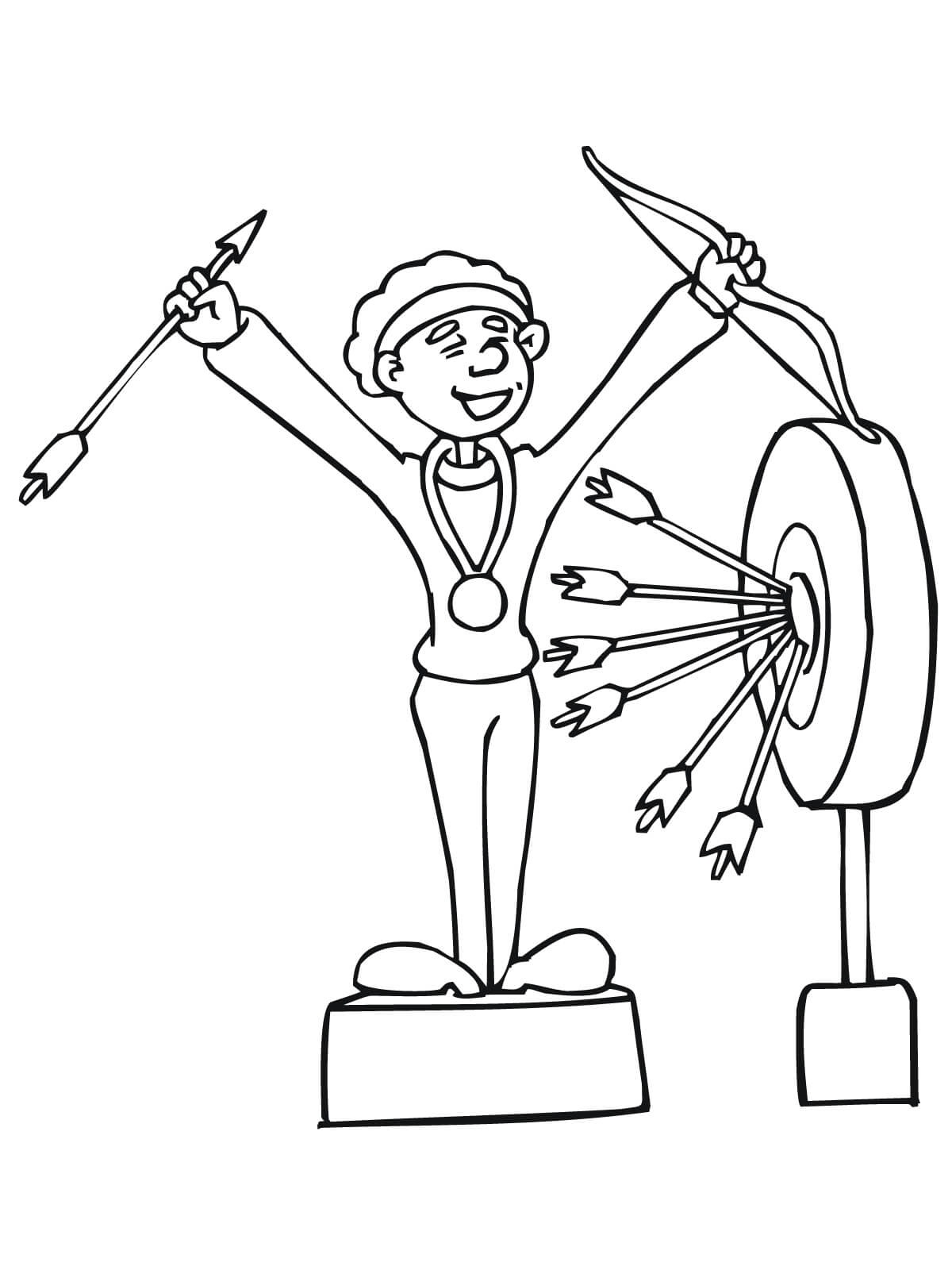 Winning Archer Coloring Page