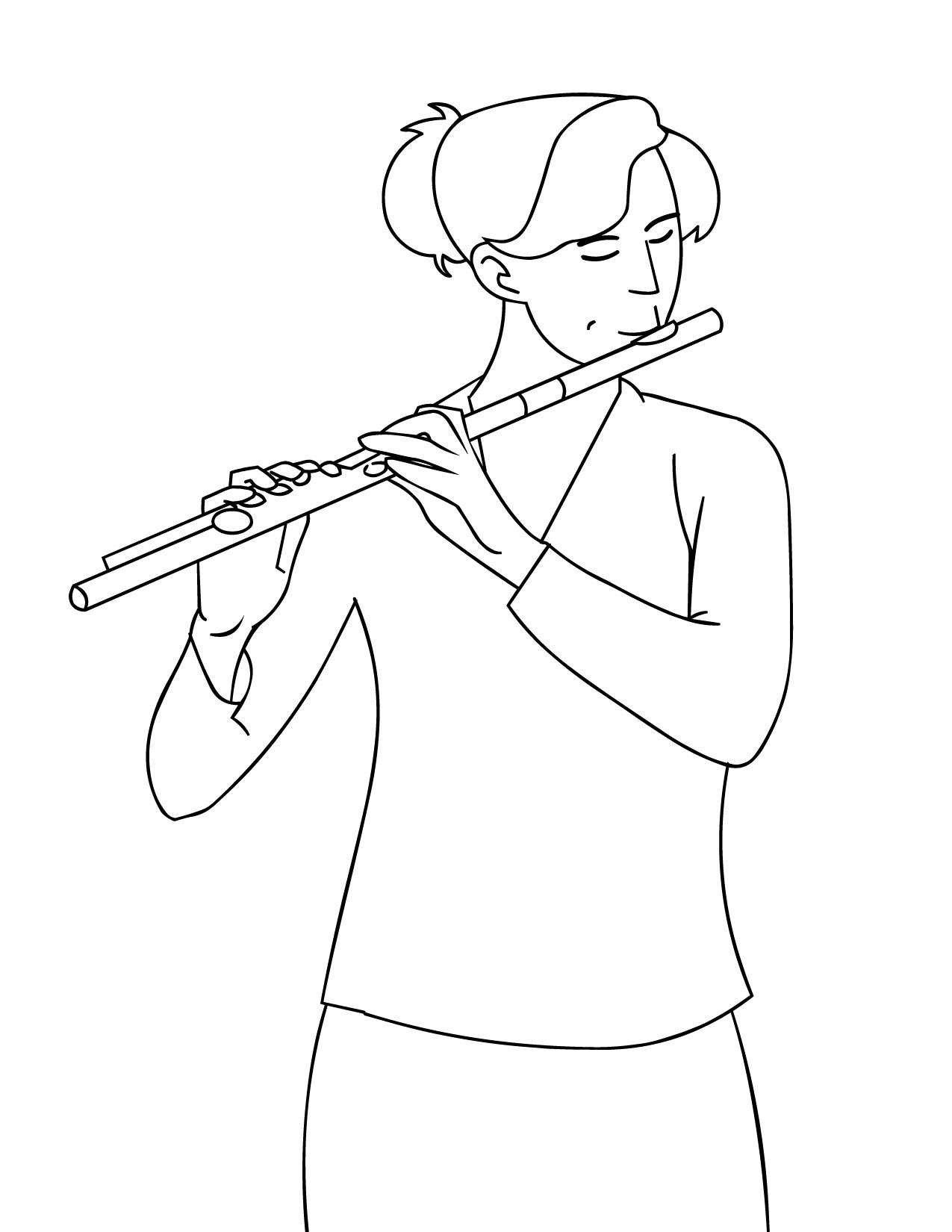Woman Playing Flute Coloring Page