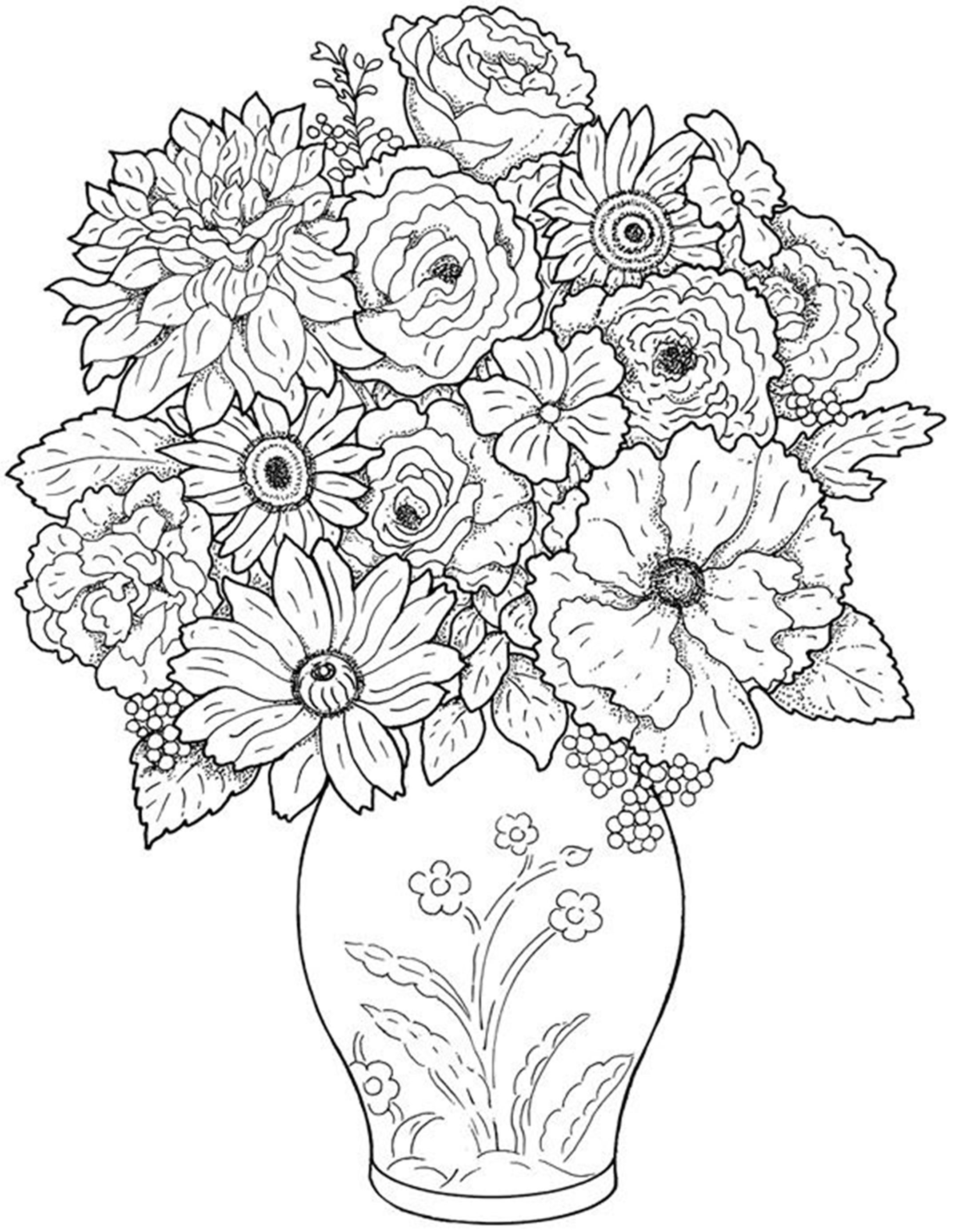 Bouquet Of Dahlia In Vase Coloring Page