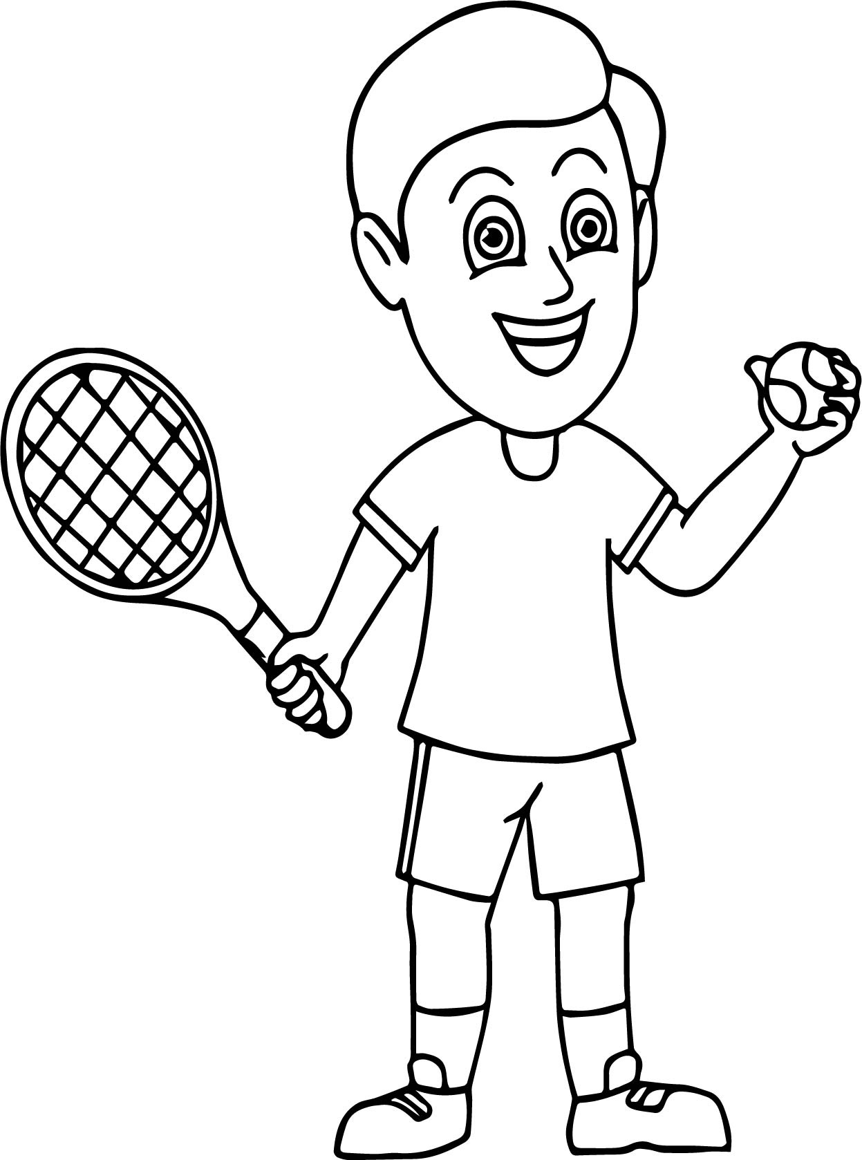 Boy Ready To Serve Tennis Coloring Page