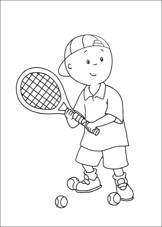 Caillou Playing Tennis Coloring Page