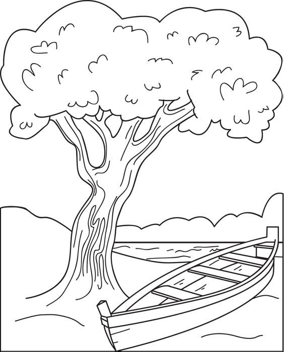 Canoe Coloring Page