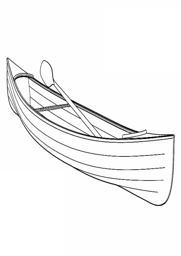 Canoe With Oar Coloring Page