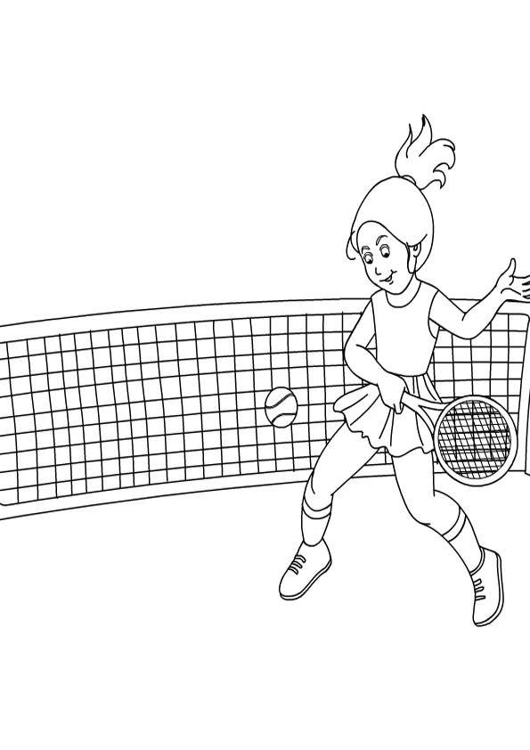 Girl Playing Tennis Coloring Pages