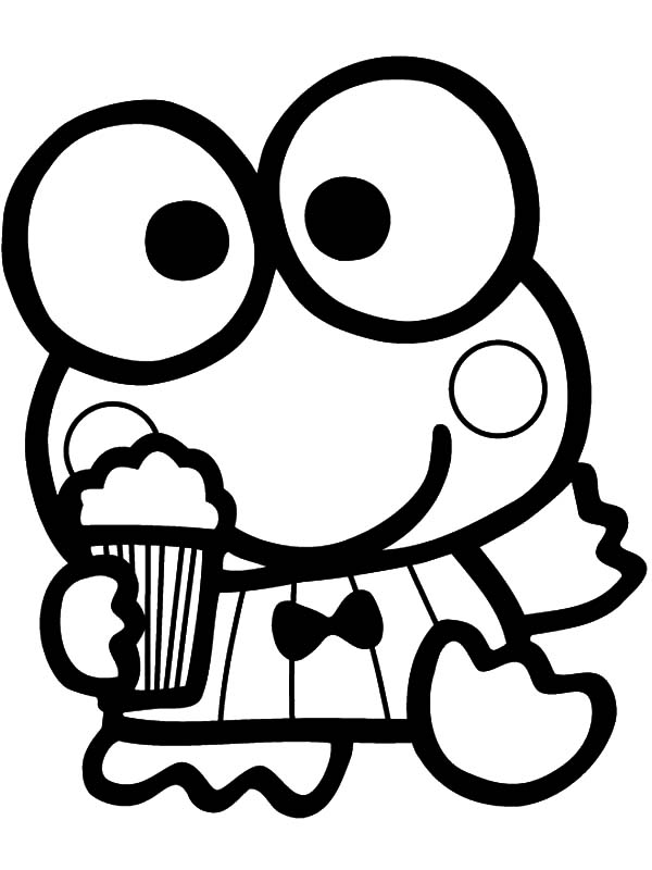 Keroppi With Popcorn Coloring Page
