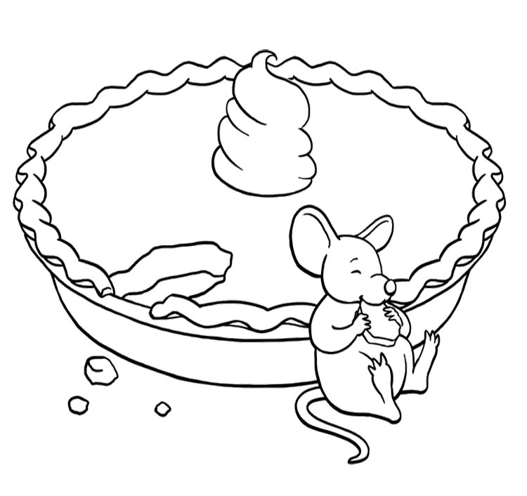 Mouse Eating Pie Coloring Page