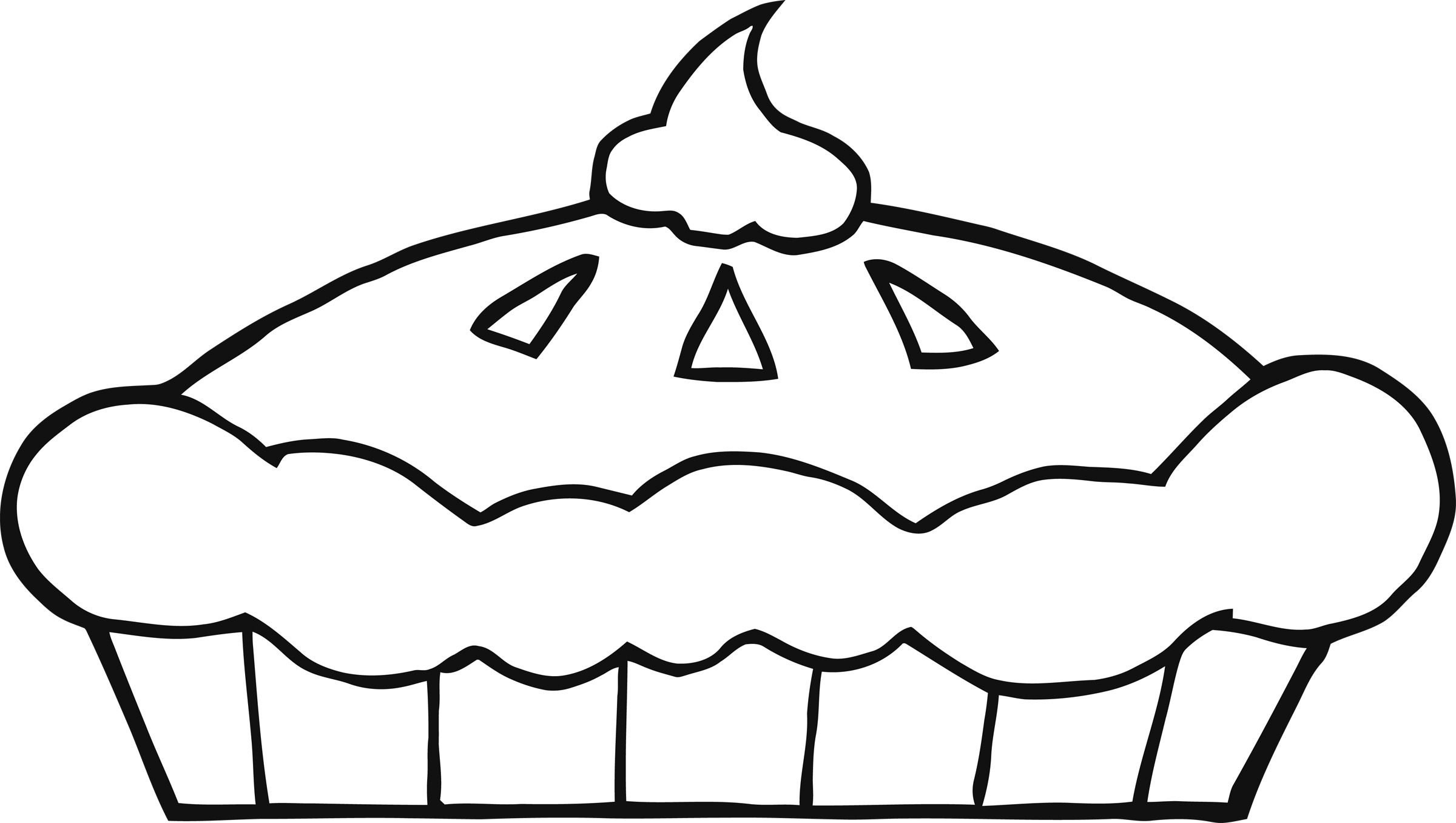 Pie With Whipped Cream Coloring Page