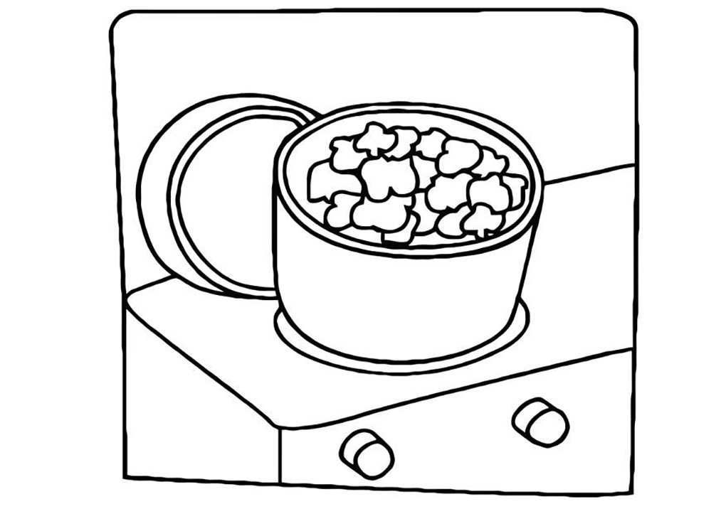 Popping Popcorn Coloring Page