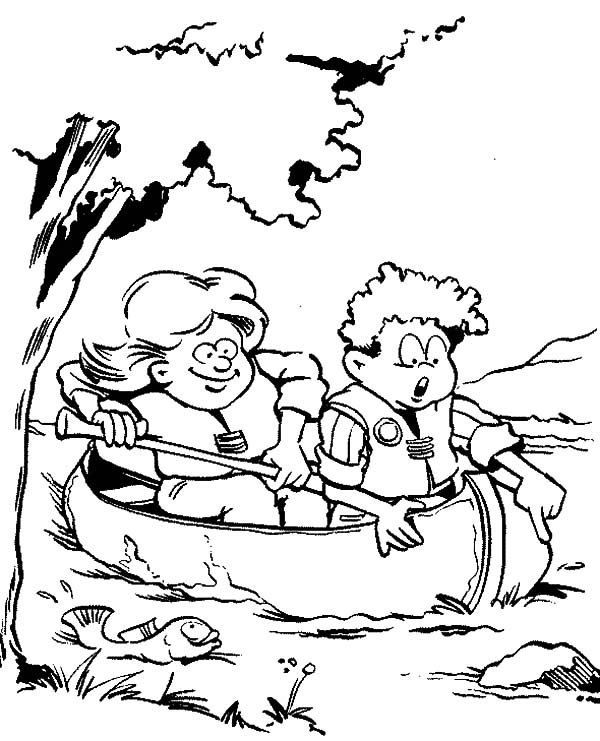 Rowing Canoe Coloring Page